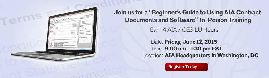 AIA Contract Docs In-Person Training Friday March 13